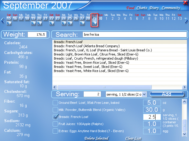Click to view Diets In Details 1.3.0.167 screenshot